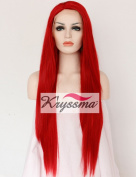 K'ryssma Red Colour Natural Looking Synthetic Lace Front Wigs for Fashion Women Long Straight Fibre Hair Heat Resistant Full Wig 60cm