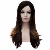 Brown Mixed Colour Women Long Straight Cosplay Costume Hair Wig Heat Resistant