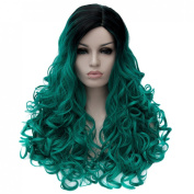 Gradient Colour Lady Cosplay Party Hair Full Wig Long Curly Costume Synthetic