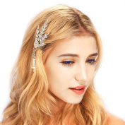 Babeyond® Great Gatsby Inspired 1920's Austrian Crystal Art Deco Leaf Hair Clip Pin Headpiece Headband Small Version
