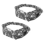 2 x Women Yoga Floral Print Twisted Knotted Hair Band Headband White+ Black