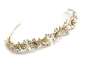 USABride Romantic Bridal Gold-Tone Floral Leaves Headband with Simulated Pearls & Flowers 215-G