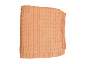 DARZZI Cable Knit Baby Blanket, Blush Pink, 90cm x 110cm