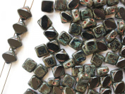 24pcs Silky Cut Beads, 2 Diagonal Holes , Czech Glass, Square 6x6mm, Jet Travertine Dark