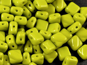 30pcs Silky Beads, Two Diagonal Holes , Czech Pressed Glass, Square 6x6mm,Opaque Green/Olivine