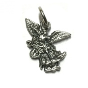 Archangel Saint Michael Protection Medal Pendant Charm Catholic Religious Made in Italy Silver Tone