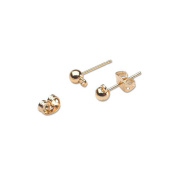Ball Earring Posts with Loop and Butterfly Catch - Gold