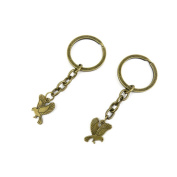 2 PCS Keyrings Keychains Key Ring Chains Tags Jewellery Findings Clasps Buckles Supplies K4RY2 Little Eagle