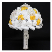 High Quality Romantic Diamond Rose Artificial Wedding Bouquet of Flower, Western Style Wedding Bride Holding Flower yellow white