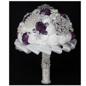 High Quality Romantic Diamond Rose Artificial Wedding Bouquet of Flower, Western Style Wedding Bride Holding Flower purple white