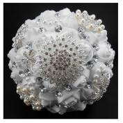 High Quality Romantic Diamond Rose Artificial Wedding Bouquet of Flower, Western Style Wedding Bride Holding Flower full white
