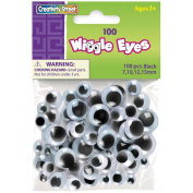Paste-On Wiggle Eyes Assorted 7mm To 15mm 100/Pkg-Black