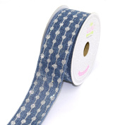 LUV RIBBONS by Creative Ideas, Canvas 3.8cm Glitter Dots Ribbon, 10 Yards, Denim
