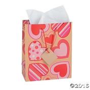 12 Paper Medium Pattern Heart Craft Bags