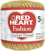 Red Heart Fashion Crochet Thread Size 5-Gold W/Gold