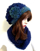 Women's Hat & Scarf Winter Set Blue Slouchy Beanie Beret Hat and Scarf Set