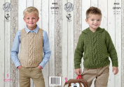 King Cole Boys Knitting Pattern Cable Detail Hooded Sweater & Slipover Big Value Aran