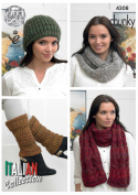 King Cole Ladies Venice Chunky Knitting Pattern Womens Accessories Scarf Cowl Hat Leg Warmers
