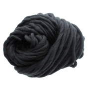 MMRM Super Chunky Yarn Soft Wool Roving Bulky Yarn Spinning Hand Knitting - 260G - Black