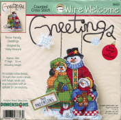 Dimensions Wire Welcome Snow Family Greetings Counted Cross Stitch Kit