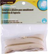 Brass Upholstery Zipper 110cm -Beige