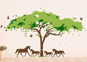 Pop Decors PT-0108-Vb Beautiful Wall Decal, African Tree and Horses