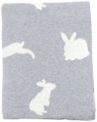 DARZZI Bunny Baby Blanket, Grey/Natural