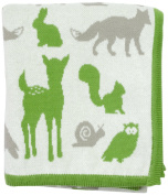 DARZZI Woodland Animal Baby Blanket, Moss Green Combo