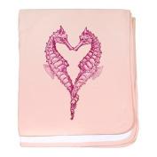 CafePress baby blanket - Seahorses heart baby blanket - Petal Pink