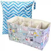 KF Baby Nappy Bag Insert Organiser 36cm (Grey) + Nappy Wet Dry Bag Value Combo