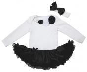 Valentine Baby Dress Neck Rosettes L/s White Bodysuit Black Tutu Romper Nb-18m