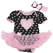 Valentine Baby Dress Heart Polka Dots Bodysuit Pink Tutu Romper Nb-18m