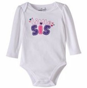 "Jumping Beans Little Girls Embroidered ""Little Sis"" Bodysuit, 12 Months, White"