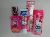Hello Kitty Travel Kit Toothbrush with Cap Kid's Crest Bubblegum Flavour Toothpaste Mouthwash Bubblegum Flavour Plus Bubble Bath Sweet Apple Scented