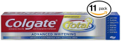 (PACK OF 11 TUBES) Colgate Total ADVANCED TOOTH WHITENING Toothpaste. Whitens & Removes Surface Stains! ANTI-CAVITY FLUORIDE, ANTI-GINGIVITIS & ANTI-PLAQUE!