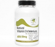 Natural Vitamin E 400IU & Selenium 50mcg ~ 100 Capsules - No Additives ~ Naturetition Supplements