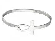 Sterling Silver Sideways Egyptian Ankh Bangle Bracelet