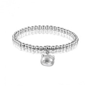 Jade Angel 5mm Sterling Silver Beads Bracelet with 925 Silver Cat Charm 6.5 inches