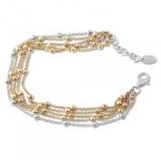 Sterling Silver 925 Three Tone Strand Beaded Adjustable Bracelet 19cm + 2.5cm Extender- The Royal Gift