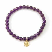 """Love Found Me"" Amethyst Gemstone Stretch Bracelet with Gold Filled Virgin Guadalupe Charm"