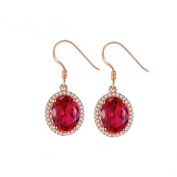 Jade Angel 18k Rose Gold Plated Sterling Silver Created Ruby Cubic Zircon Dangle Earrings