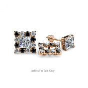 Black and White Diamond Halo Jacket for Princess Cut Stud Earrings 0.74 ct tw in 14K Rose Gold