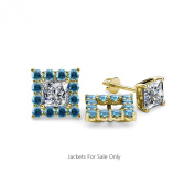 Blue Topaz Halo Jacket for Princess Cut Stud Earrings 0.84 ct tw in 14K Yellow Gold