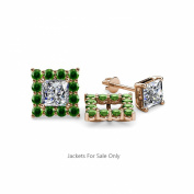 Green Garnet Halo Jacket for Princess Cut Stud Earrings 0.88 ct tw in 14K Rose Gold