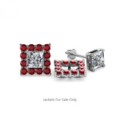 Red Garnet Halo Jacket for Princess Cut Stud Earrings 0.88 ct tw in 14K White Gold