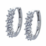 Sterling Silver Rhodium Plated, 3mm Round CZ Prong Set Hoop Earrings