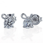Sterling Silver Rhodium Plated, Round CZ Prong Set Bow Stud Earrings