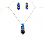 Sterling Silver Simulated Opal and Simulated Tanzanit Necklace Earring Set