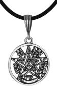 Sterling Silver Tetragrammaton Pentagram YHWH Pagan Wiccan Pendant 22mm M Made in USA