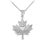 """10k White Gold Maple leaf """"CANADA"""" word with heart Pendant Necklace"""